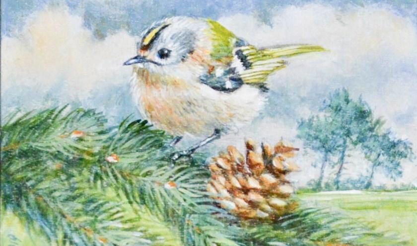 Nederlands kleinste vogeltje, het goudhaantje, komt groot(s) in beeld op een van de schilderijen van Michael Mansfield.