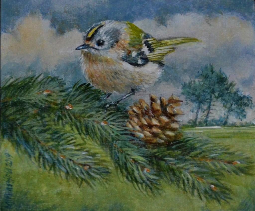 Nederlands kleinste vogeltje, het goudhaantje, komt groot(s) in beeld op een van de schilderijen van Michael Mansfield.  © DPG Media