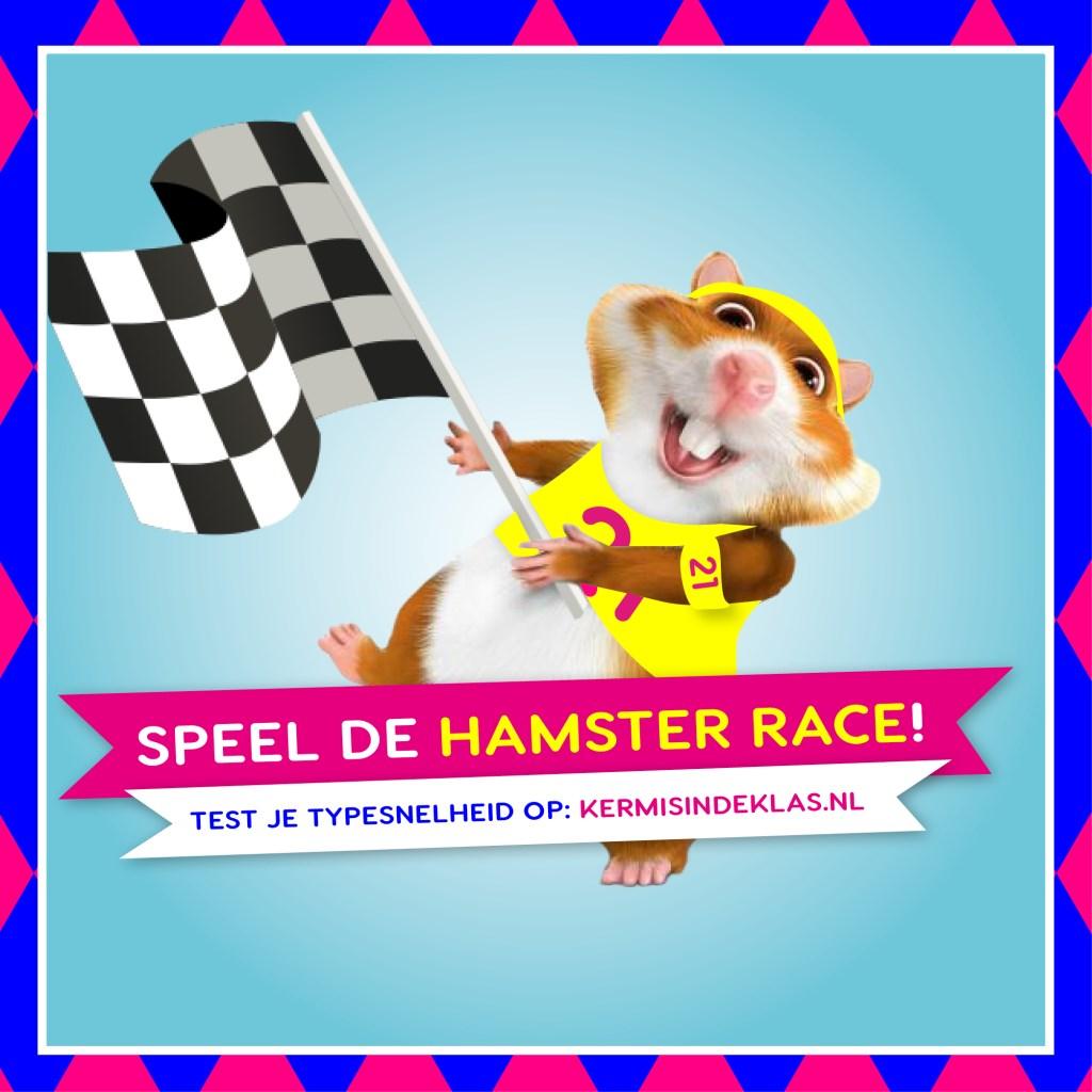 In de Hamsterrace laat je, door zinnen foutloos en zo snel mogelijkover te typen, je een hamster over een parcours racen.   © DPG Media