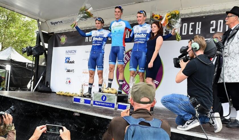 <p>Het podium van de Ronde van de Achterhoek in 2019.</p>