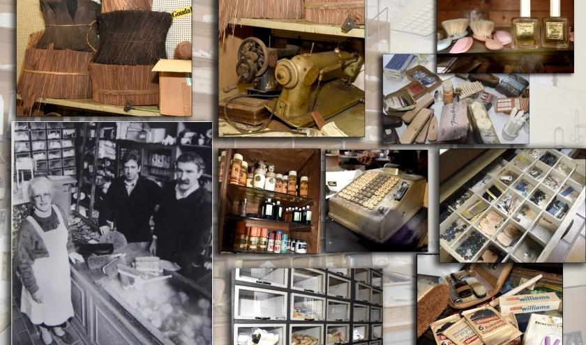 Een collage van het opmerkelijke interieur met details. Foto: Marianka Peters. Martin Droog maakte de foto van mevrouw Anders en haar zonen.