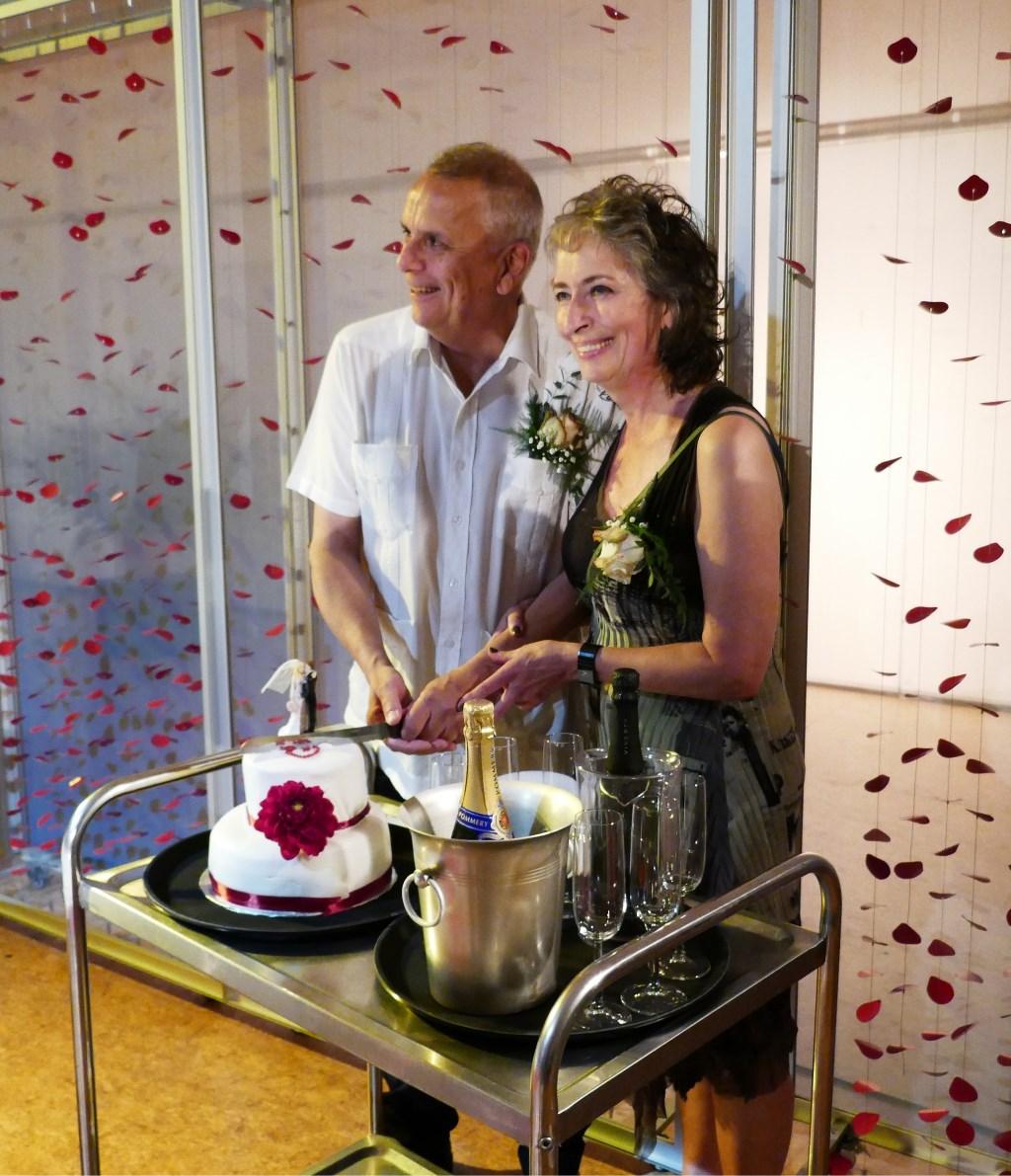 Taart, champagne en op de achtergrond beeldende kunst. (Foto: SAGE)  © DPG Media