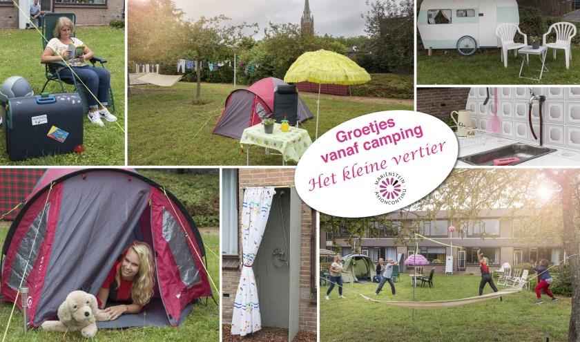 Een ansichtkaart van een bijzondere camping in IJsselstein: 't Kleine Vertier, waar de bewoners van Mariënstein genoten van het campingleven naast eigen huis en in eigen tuin. (Foto: Mariënstein)