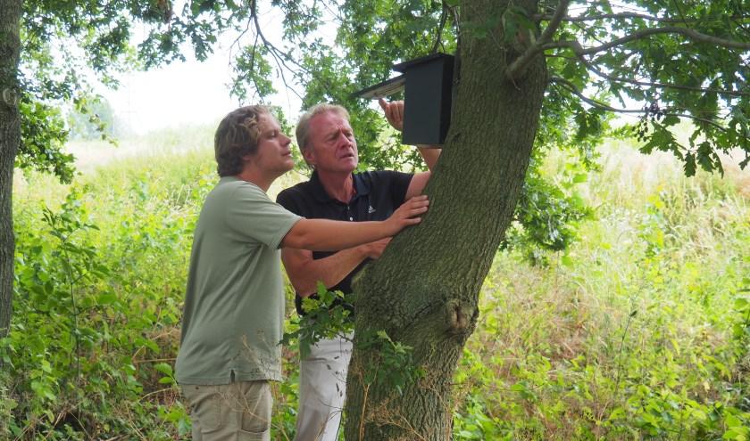 Nick Hofland en Harrie Besselink onderzoeken de spreeuwenkasten op de golfbaan.
