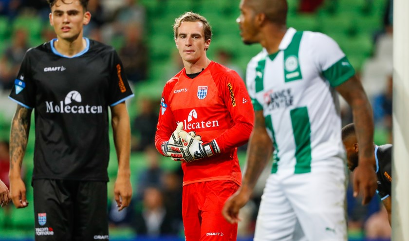 Xavier Mous met links teamgenoot Sam Kersten, in het verloren uitduel tegen FC Groningen afgelopen weekend (2-0).