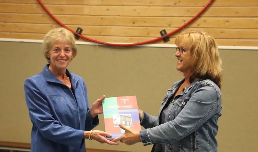 Overhandiging eerste K&K boek in het voormalige 'eigen gebouw' aan Lisa Rust-van Zanten, kleindochter van medeoprichter Gijs Veldt.