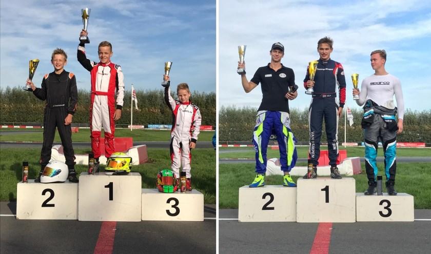 Links kampioen Matthijs Terlouw (12) uit Heinenoord, rechts de 16-jarige Niels van Kampen uit Mijnsheerenland. (foto: pr)
