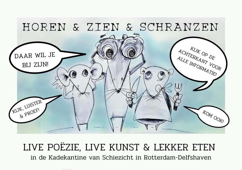 Flyer Horen & Zien & Schranzen (voorkant) Foto: Illusratie en ontwerp flyer: Christy de Witt © DPG Media