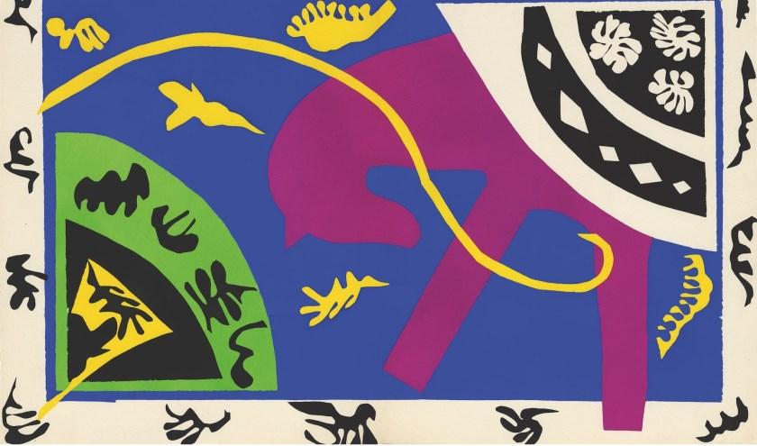 Henri Matisse, Het paard, de ruiter en de clown, plaat V, uit het geïllustreerde boek Jazz, 1947, Kunstmuseum Pablo Picasso Münster.
