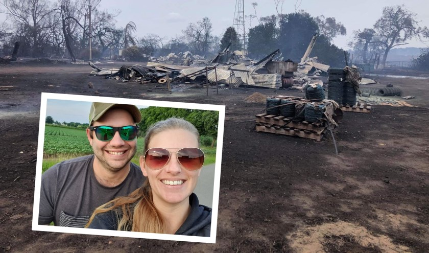 Het huis van Jacqueline Lock en haar man Daniel staat er nog, de boerderij en de oogst zijn verloren gegaan.
