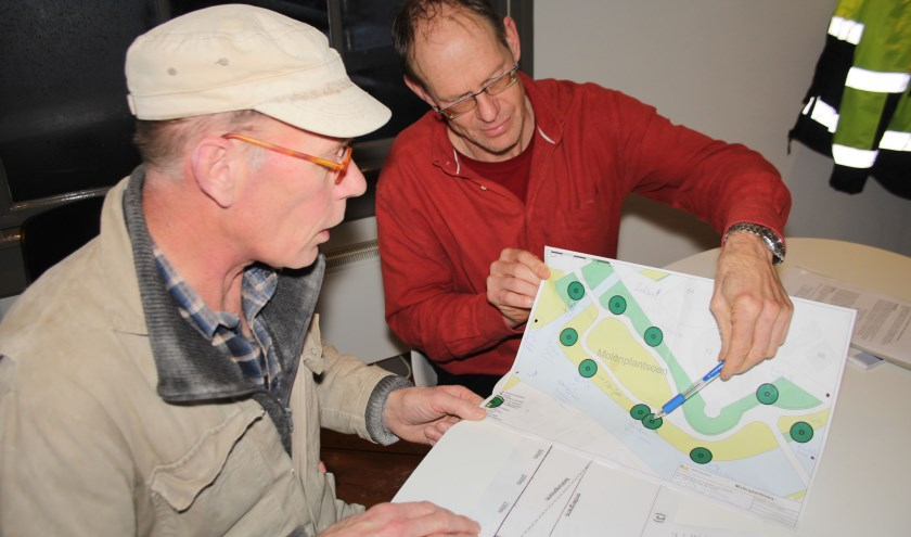 Molenaar Maarten Dolman neemt met RMN-beleidsmedewerker Hovinga het snoeiplan rond de molen door. (Foto: Lysette Verwegen)