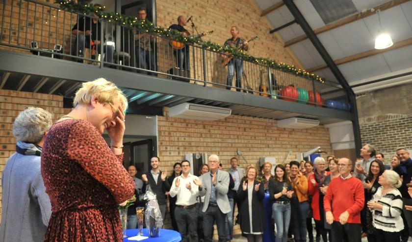 Jacqueline Dalemans bij het afscheid in Fysiotherapie De Waag in Renkum. (foto: gertbudding.nl)