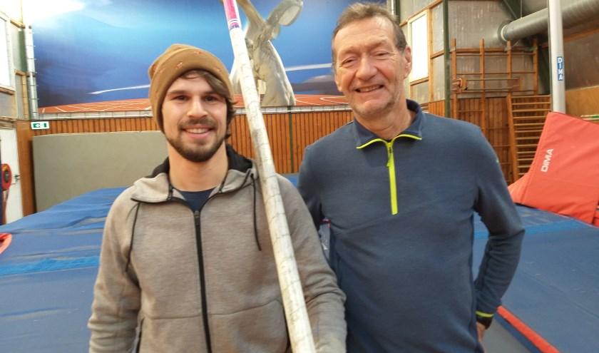 De organisatoren van het hoogspringgala: Timo de Water (l) en Jaap vander Plaat