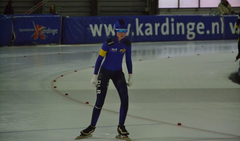 Lisa aan de start van de 500 meter.