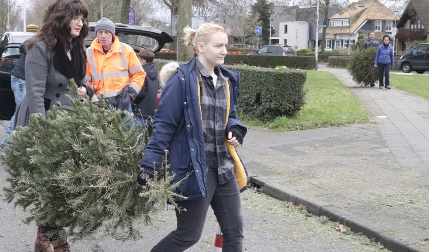 Er werden in Culemborg weer vele kerstbomen ingeleverd voor de versnipperaar en iedere boom leverde 50 cent op.