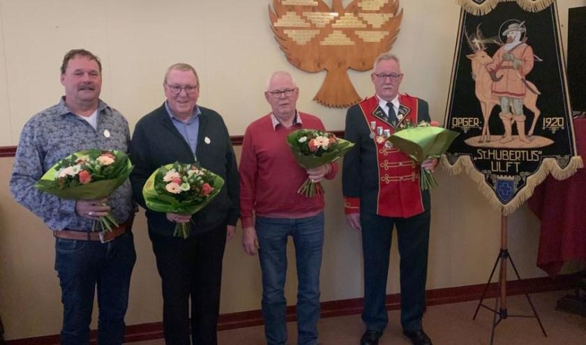 Ereleden: Gerrie Geerts, Hans Kraan, Martin Helmink en Jos Cornelissen (Theo Jansen ontbreekt)