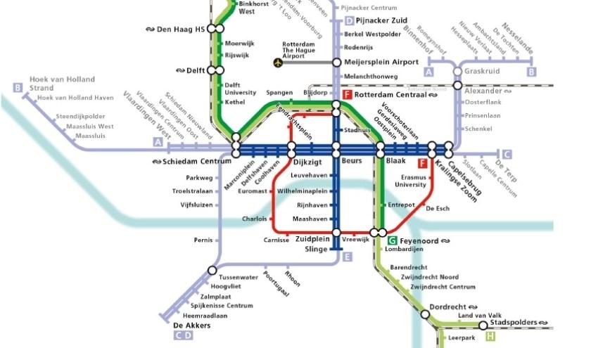Rondom Beurs (zie het vette blauwe kruis in het kaartje van de RET) gaan in de toekomst sterk geautomatiseerde metro's rijden.
