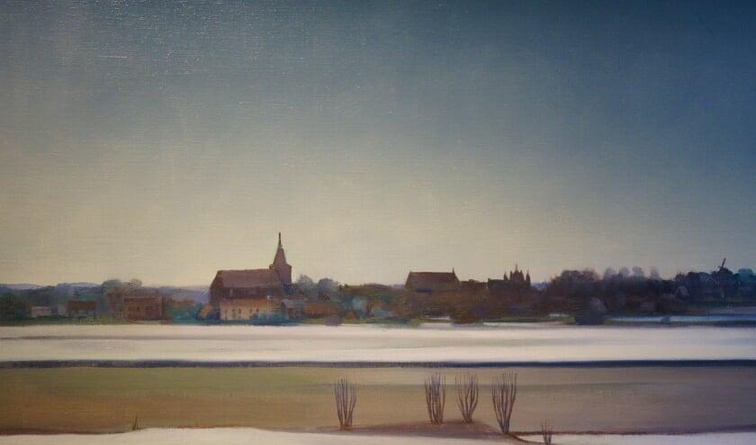 <p>Een fragment van het &lsquo;Winters Zicht op Hattem&rsquo;, geschilderd door Chris ten Bruggen Kate. (Foto: Voerman Museum Hattem)&nbsp;</p>