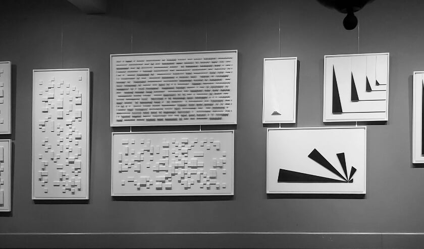 <p>De werken zijn moeilijk vast te leggen op foto, het zijn driedimensionale reli&euml;f composities, gebaseerd op wiskunde. Foto: Arno Klos&nbsp;</p>