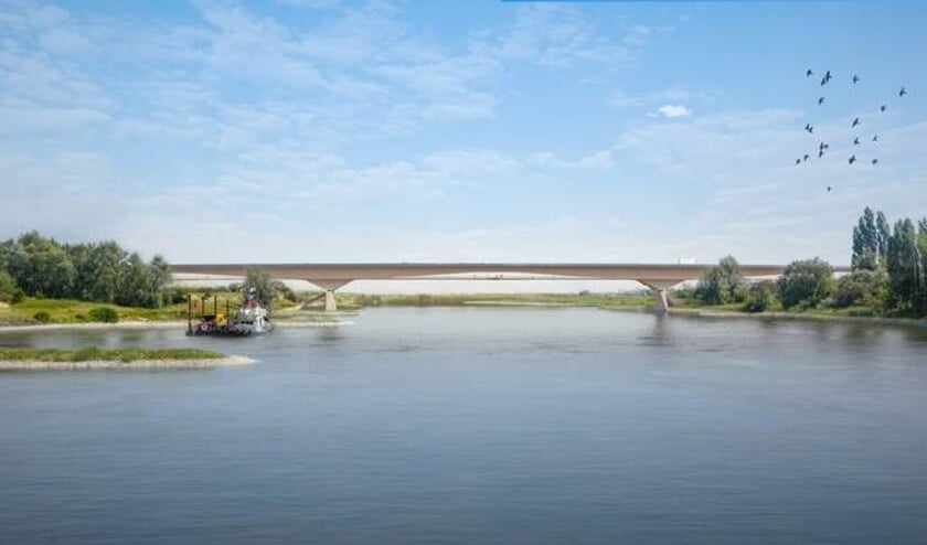 <p>Artist impression van de brug die door de A15 wordt aangelegd.</p>