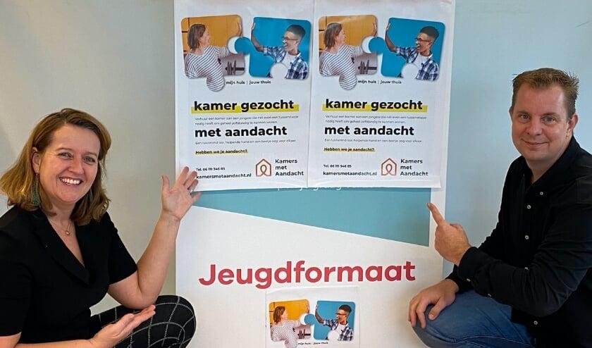 <p>Miranda van der Deijl, co&ouml;rdinator van Kamers met Aandacht, en Xander Scholte, manager bij Jeugdformaat</p>