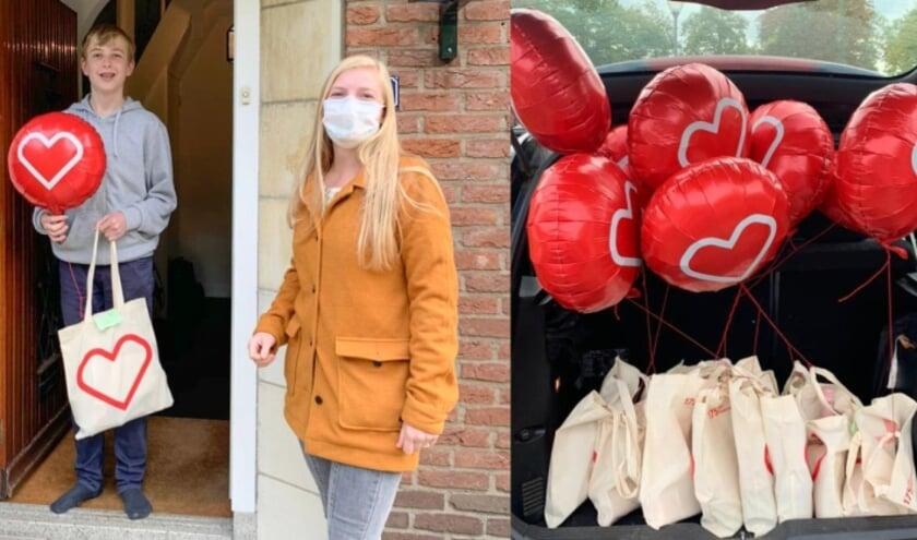 <p>Leden van de Kinderadviesraad kregen thuis een goodiebag uit handen van de kinderverpleegkundigen van het Diakonessenhuis. Foto: Diakonessenhuis</p>