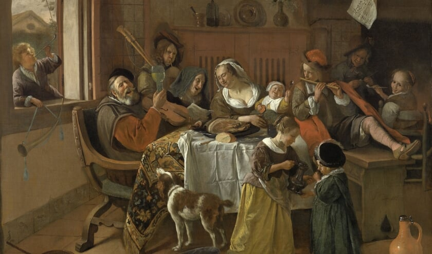<p>Het vrolijke huisgezin van Jan Steen, zelf is hij links te zien met de doedelzak.&nbsp;</p>