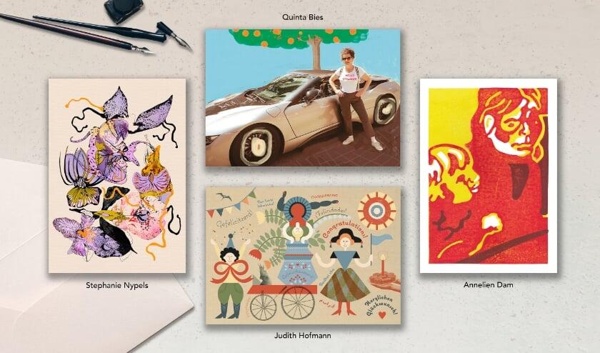 <p>Vrouwenclub Dunya ontwikkelt kunstkaarten om tehuis in Bangladesh te steunen. Afgebeeld vier van de zes ontwerpen. (Foto: Judith Hofmann)</p>