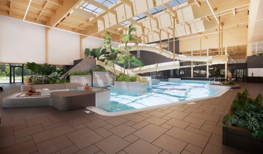 Het interieur van het nieuwe zwembad