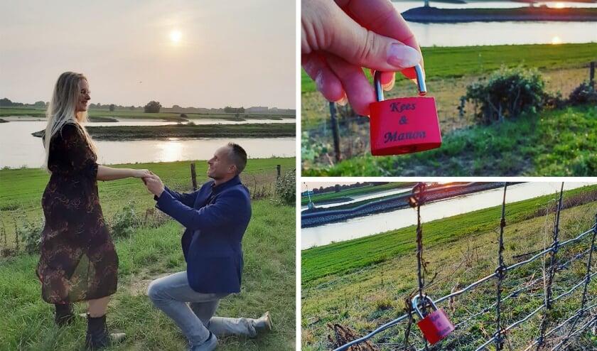 <p>Kees Krechting gaat voor Manon op zijn knie&euml;n bij de riviersplitsing. Op de foto&#39;s rechts het liefdesslotje dat ze aan het hek hebben bevestigd.</p>