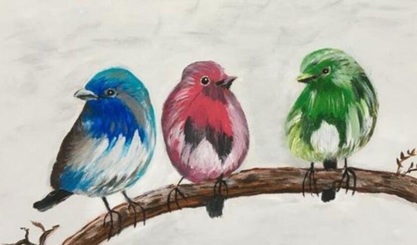 <p>&lsquo;Drie vogels&rsquo;. Een van de onderwerpkeuzes van de workshop schilderen op canvasdoek. </p>
