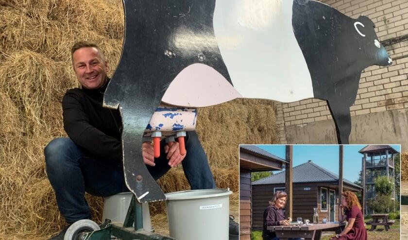 <p>Hugo Oudejans laat zien hoe je limonade uit de koe melkt. Inzetje: het &#39;ontmoet en groet je collega&rsquo; arrangement. Foto&#39;s: Boerderij de Boerinn</p>