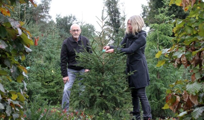 <p>Arnold Schuiten en Vivian Rooijakkers aan het werk in de biologische boomkwekerij.&nbsp;</p>