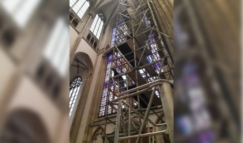 <p>De laatste steigers zijn inmiddels uit de Domkerk verwijderd. Foto: Domkerk Utrecht</p>