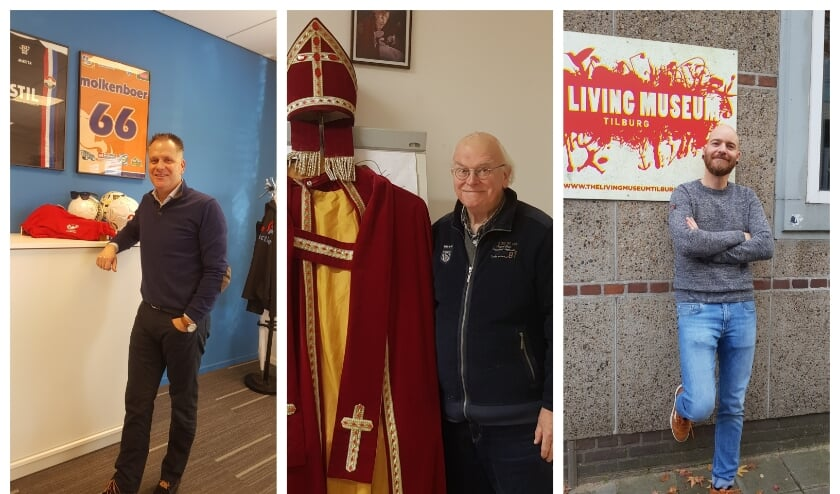 Frank Molkenboer van de Verbeeten Challenge, Fernand Palmen van het Centraal Sint Nicolaas Comite Tilburg en Rob Haen bij The Living Museum.