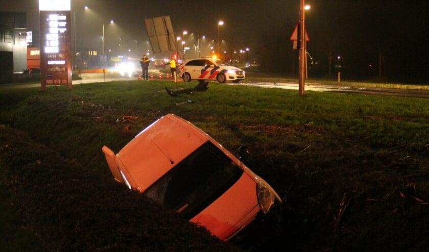 Auto in de sloot en met politie op de achtergrond die de weg afzet.