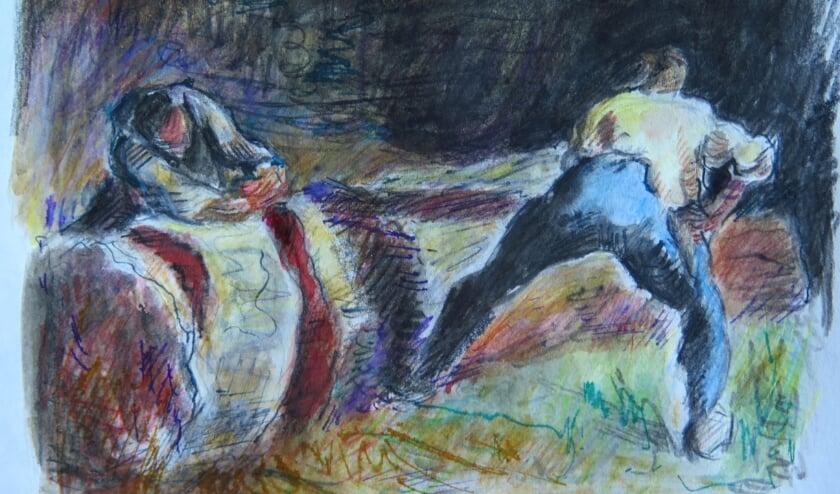 <p>Houtzagers in het bos, naar Jean-Fran&ccedil;ois Millet; Marjolein Menke, waterverf, en aquarelpotlood, inkt 14,5x17 cm. </p>