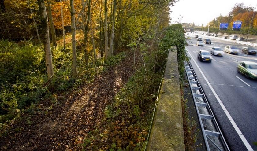 <p>De snelweg A27 in de verdiepte betonnen bak door het landgoed Nieuw-Amelisweerd, links op de foto. Foto: Rob Huibers/HH</p>