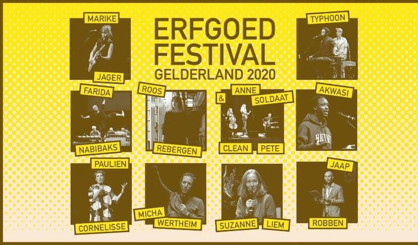 <p>Tien artiesten tijdens het Erfgoedfestival 2020</p>