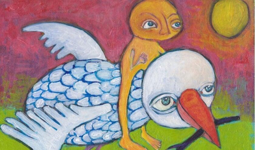 <p>Een van de kunstwerken die te koop is, is dit werk &#39;I&#39;ll fly you to the moon&#39; van Eva Bonneur.</p>