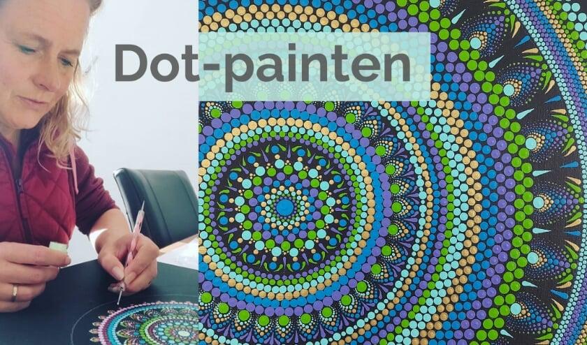 Miranda aan het dot-painten