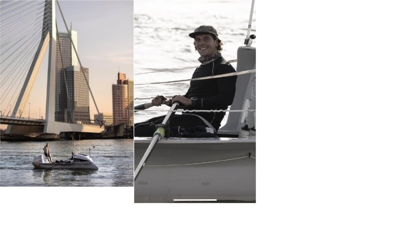 <p>Kilometers maken met de zelfgebouwde boot op de rivier met de Rotterdamse Erasmusbrug als fraai decor. Foto links: de Numansdorpse roeier Kai Wiedmer.</p>