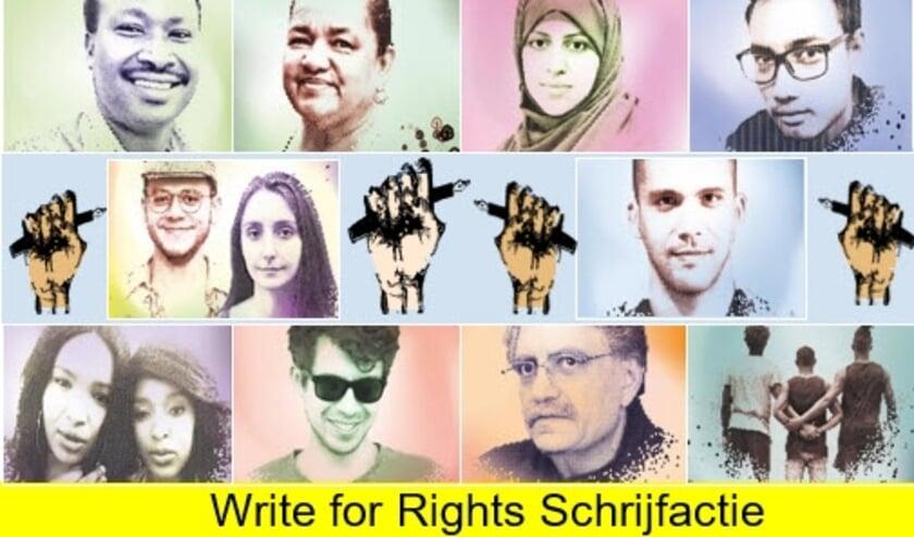 <p>Een compositie van portretten van mensen voor wie de schrijfsessies van Amnesty nodig zijn. FOTO: Amnesty.&nbsp;</p>