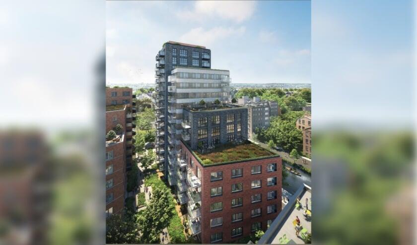 <p>Een plan met woningbouw, horeca en groen. (Foto: ontwerp: Rijnboutt Architecten/ impressie: Arqui9)</p><p><br></p><p><br></p>