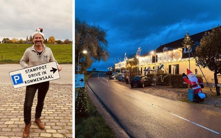 """<p>Michel Tikken: """"Corona maakt niet alles onmogelijk. Dat bewijzen we met onze drive-in."""" Rechts zijn restaurant De Kommensaal aan de Koestraat in Lathum.</p>"""