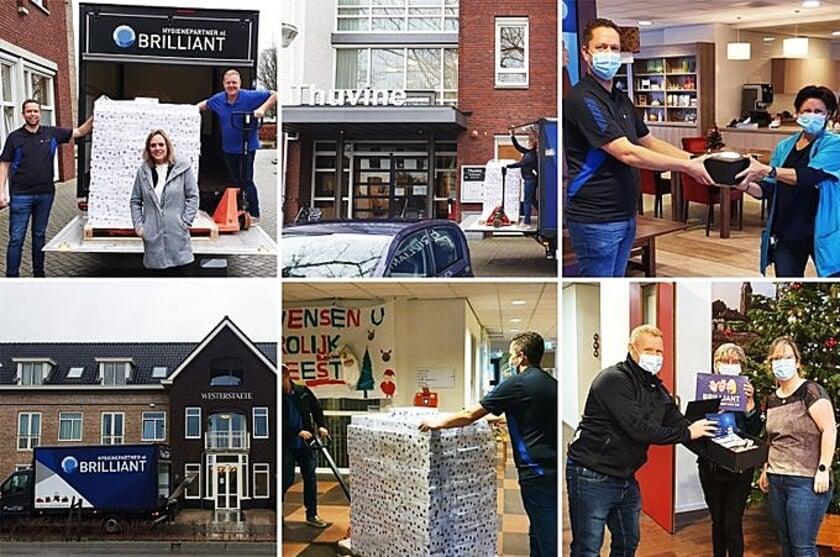 <p>Foto's van de uitreiking van de kerstpakketten van Brilliant Group bij Thuvine in Duiven en Westerstaete in Westervoort.</p>
