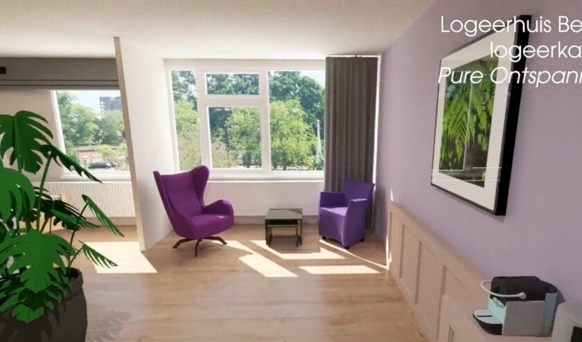 Artist impression van een van de kamers van Logeerhuis Bredius, dat momenteel stevig verbouwd wordt. Kijk ook naar het filmpje op www.logeerhuisbredius.nl