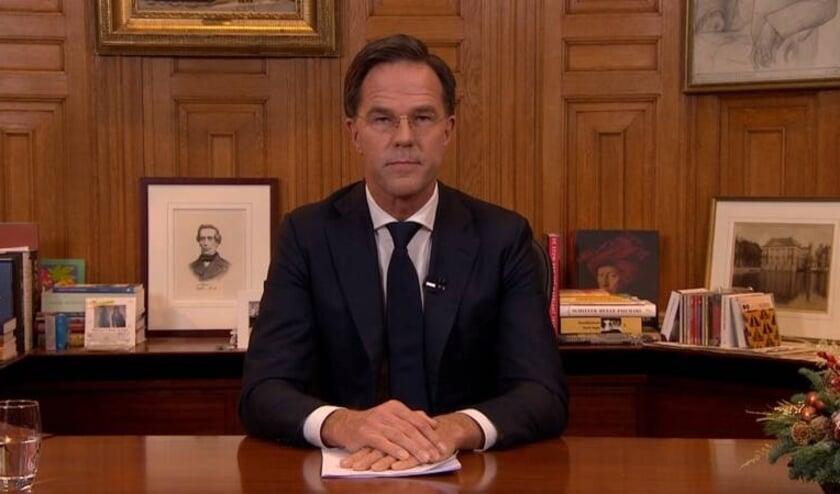 Premier Rutte sprak vanavond het land toe vanuit het Torentje.