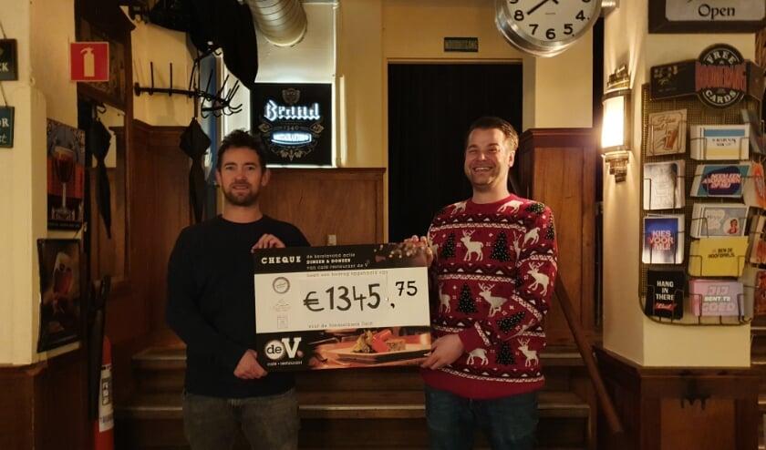 <p>Rechts Joris van Leeuwen (eigenaar caf&eacute; de V) en links Jon Cornelese (voorzitter Stichting Couvert Extra) tonen de cheque.&nbsp;</p>