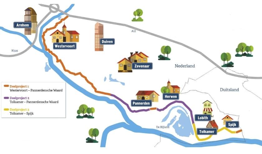 <p>Trajectindeling dijkversterking van Spijk tot en met Westervoort.</p>